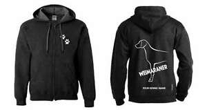 Exclusive Dogeria Design. Selfless Weimaraner Full Zipped Dog Breed Hoodie Activewear