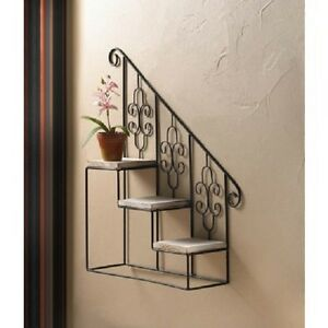 Image Is Loading Black Metal Iron Stair Step Wall Hanging Plant