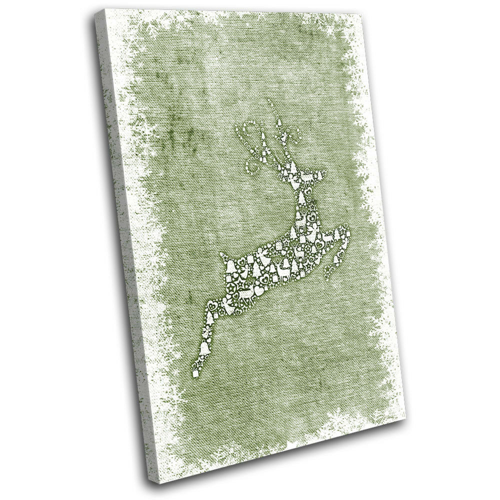 Christmas Decoration Wall Canvas ART Print XMAS Picture Gift Hessian 01 vert Ch
