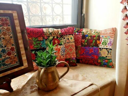 Handmade Embroidery Palestinian Traditional Folklore Pair Cushions Pillow Covers
