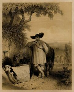 Theodore-Valerio-Bretagne-Costume-de-Paludier-Lithographie-originale-XIXe