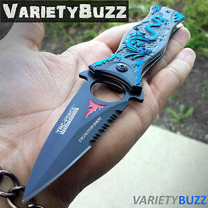 TAC FORCE BLUE DRAGON SPRING TACTICAL FOLDING KNIFE Assisted Open Pocket Blade