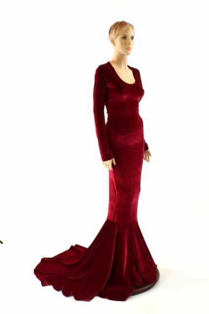 SZ LARGE Long, Red Velvet Gown with Scoop Neckline, Long Sleeves Puddle Train