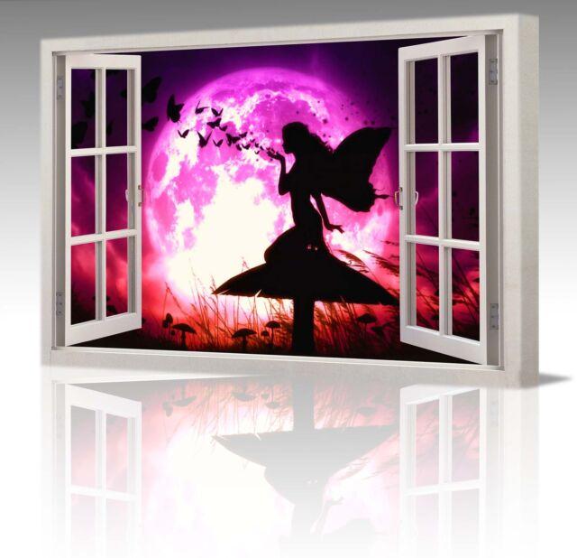 "FAIRY BUTTERFLIES PURPLE MOON WINDOW VIEW 30x20"" CANVAS WALL ART PICTURE PRINT"