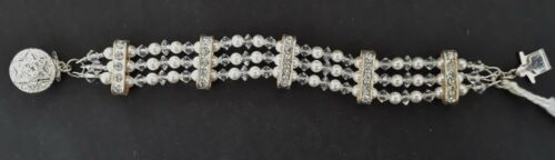 Gorgeous Swarovski crystals & pearls handmade wedding bridal 4 strand bracelet