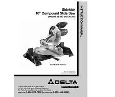 "Delta 36-240 36-250 Sidekick 10"" Compound Slide Saw Instruction Manual"