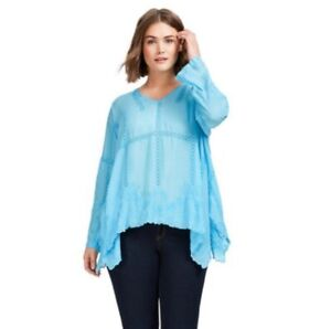 FLAW-Johnny-Was-Cage-Flare-Tunic-Light-Blue-Womens-Size-Small