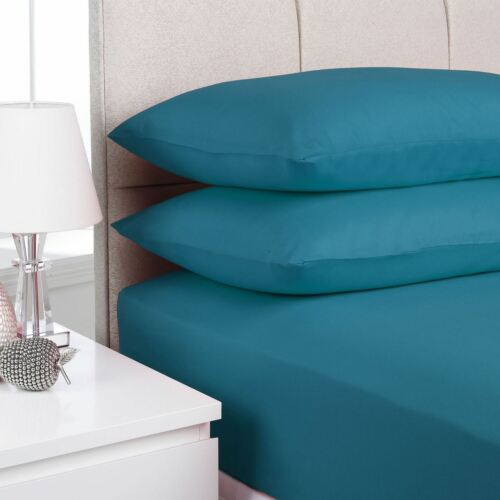 2 x Pillow Case Polycotton Fitted Sheet Matching Plain Color Pair Pillow Cover