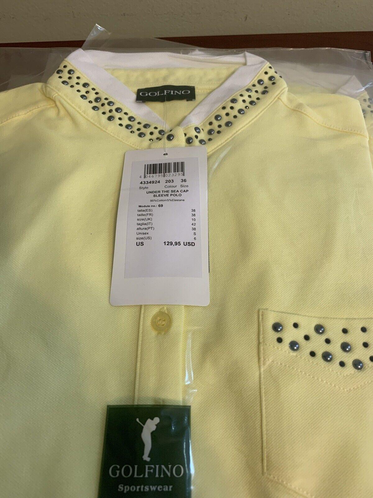 NWT Golfino Ladies Under the Sea Cap sleeve Yellow Polo 4334924 203 sz 2 6 8 10