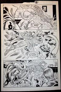 FANTASTIC FOUR #318 ORIGINAL ART DR. DOOM VS HUMAN TORCH/ POLLARD & SINNOTT/1988