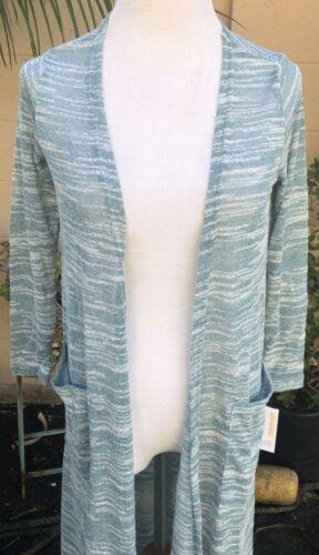 Lularoe White Cardigan Nwt Sarah Lightweight Green Sweater Heathered M 66PMKrgS