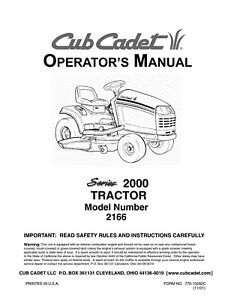 cub cadet owners manual model no 2166 ebay rh ebay com Cub Cadet 2166 Series 2000 Cub Cadet 2166 Specifications