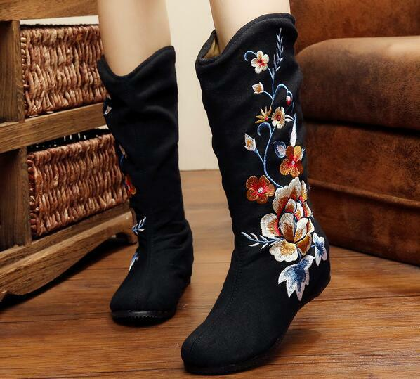 Sz35-41 Women's Embroidery Flower National Round Toe Retro Mid Calf Boots shoes