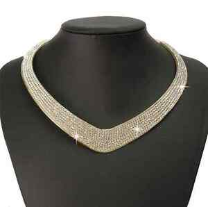 Fashion-Charm-Crystal-Choker-Chain-Chunky-Statement-Bib-Necklace-For-Women-Lady