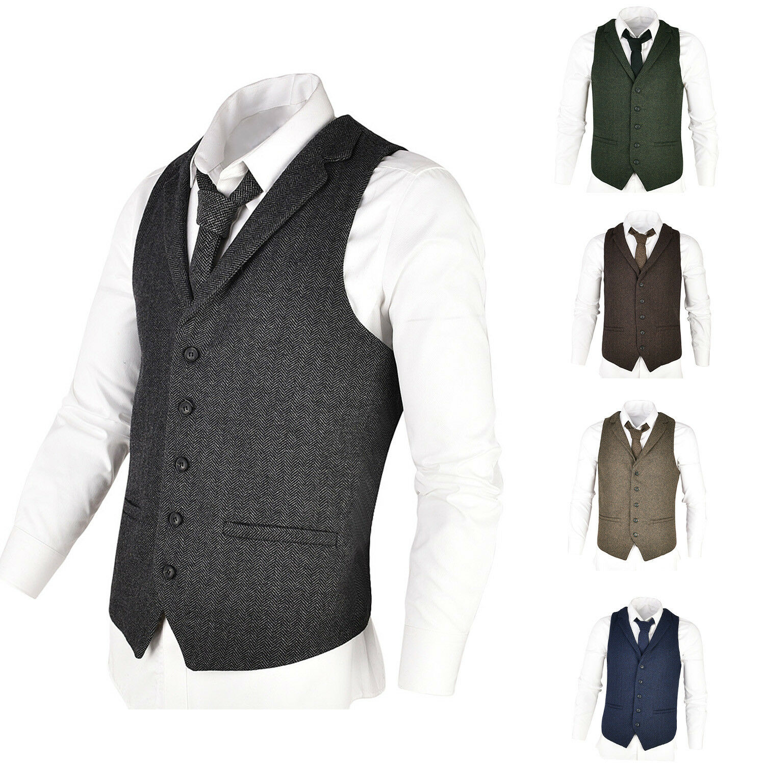 MENS WOOL BLEND HERRINGBONE TWEED LAPEL WAISTCOAT VEST GILET - ALL SIZES 3