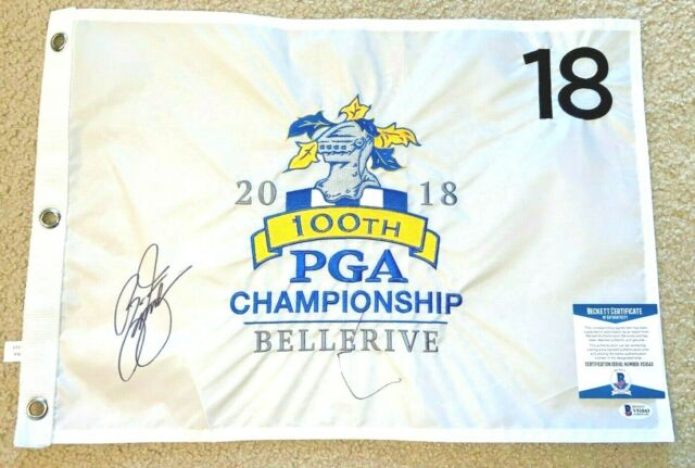 RICKIE FOWLER SIGNED 2018 100TH PGA CHAMPIONSHIP FLAG BELLERIVE BAS