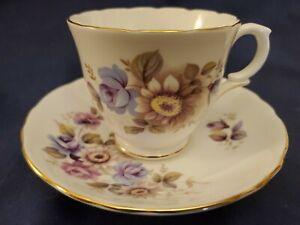 Crown-Staffordshire-England-Fine-Bone-China-Floral-Cup-amp-Saucer-Set-MINT-CNDTN