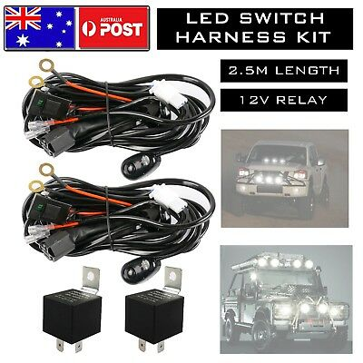 2x Led Offroad Wiring Loom Harness Relay Fuse Switch Kit 12v 40a Bar Work Light Ebay