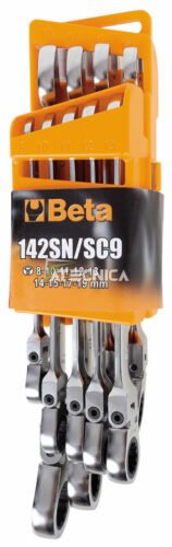 Serie 9 chiavi a cricchetto Beta Tools 142SN//SC9 combinate snodate con supporto