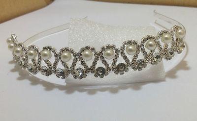 2 X Cristalli Di Diamante E Perla Fascia Per Capelli Aliceband Tiara Da Sposa Prom Party * Vendita *-mostra Il Titolo Originale Giada Bianca
