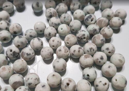 10 perles semi précieuses gemmes JASPE 8mm bleu ciel et gris givré ////34