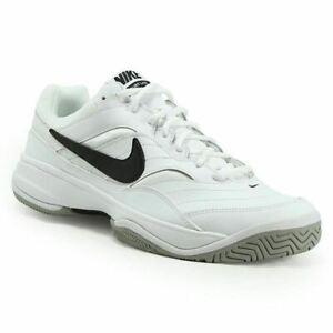 Mens-Nike-Court-Lite-White-Black-Grey-Mens-Trainers-Shoe-845021-100