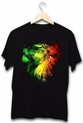 Lion Of Judah Classic Rastafarian Reggae Music Stoner Weed Mens Black T-Shirt