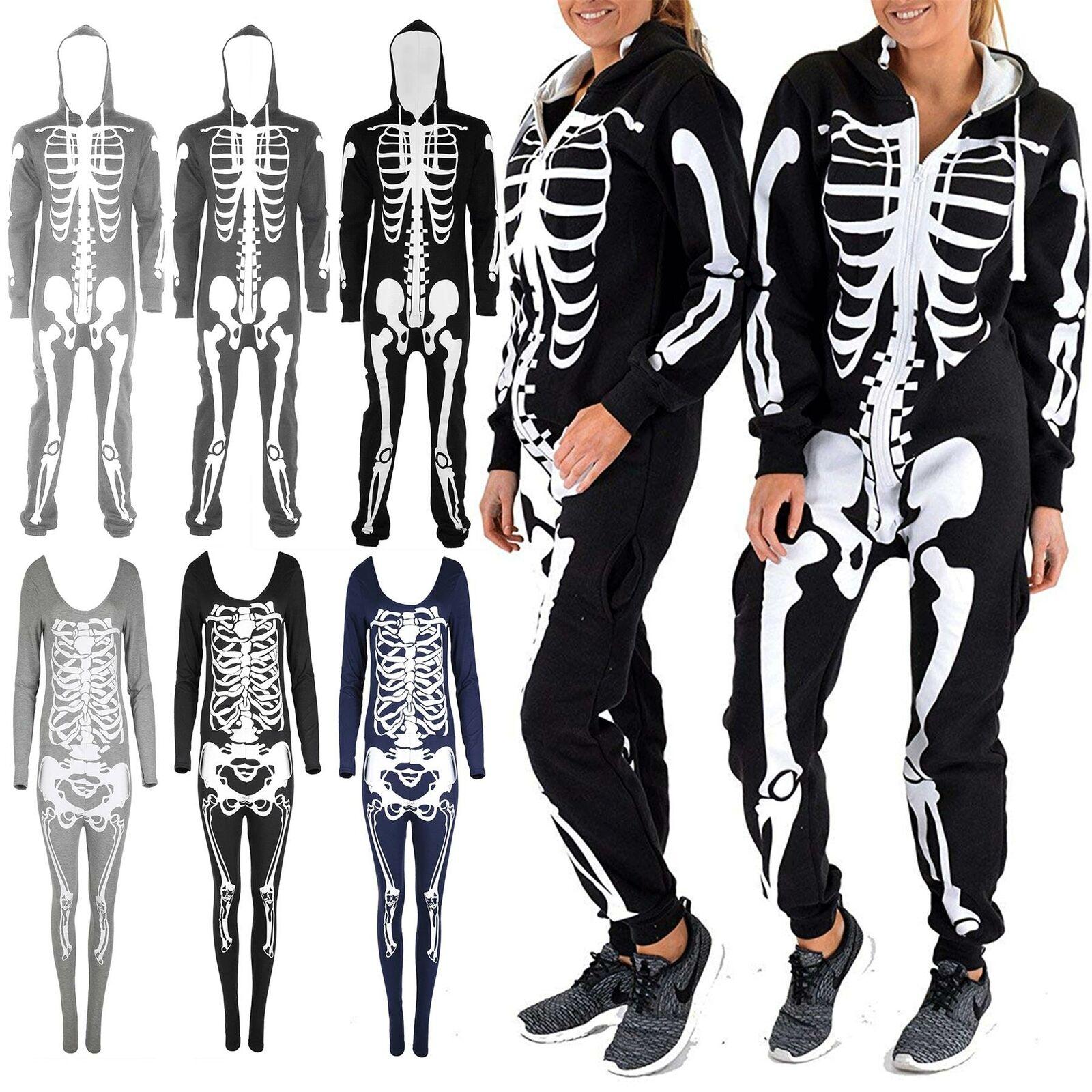 Womens All In One Skeleton Halloween Ladies Hooded Horror Costume ZipUp Jumpsuit