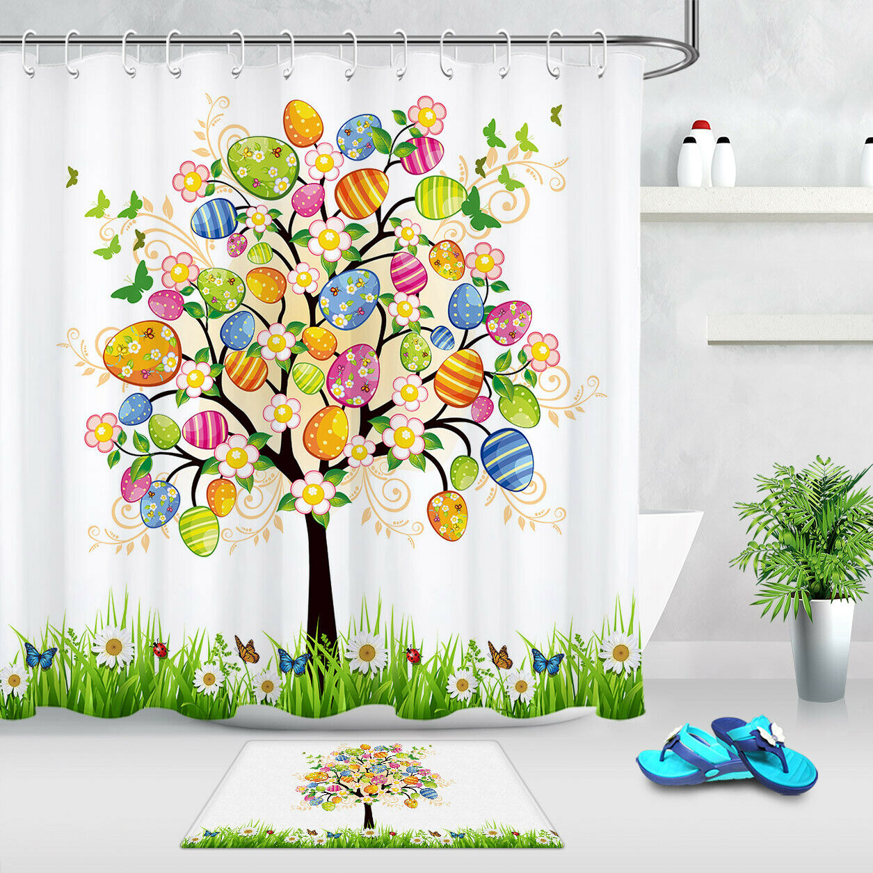 """Easter Eggs Colorful Floral Tree of Life Shower Curtain Set Bathroom Decor 72/"""""""