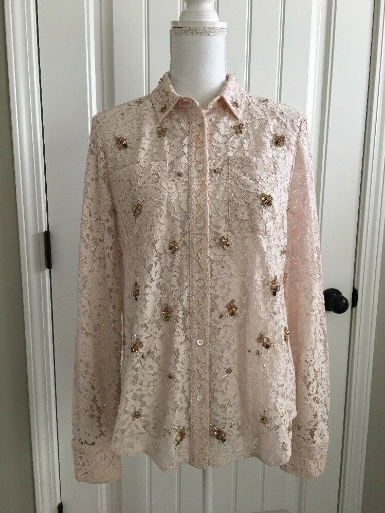 Button Emblished Lace Crew J New Down Hemd Sample 6 Sz Beige