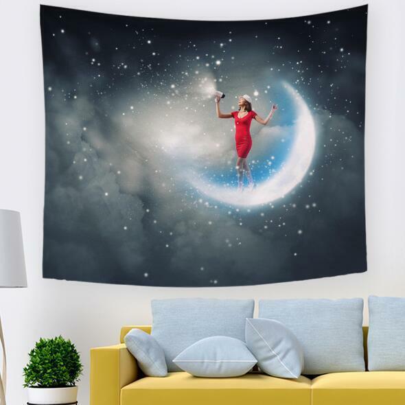 3D Mond Himmel M603 Tapisserie Hängendes Tuch Hängen Wallpaper Wandbild Amy