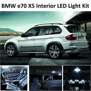 Details About Premium Bmw X5 E70 Interior Pure White Full Upgrade Led Light Bulbs Kit