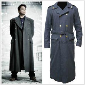 Doctor Who John Barrowman Captain Jack Harkness Long Trench Wool Coat #