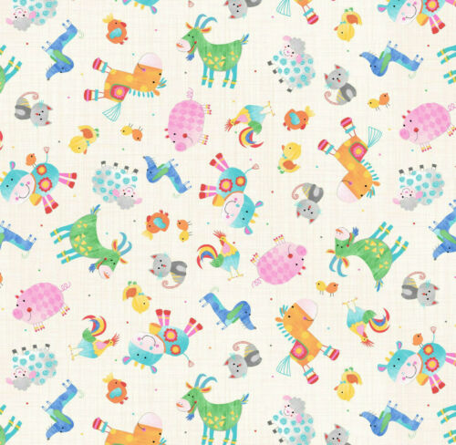 moo cock a doodle doo Oink by Blank Quilting 100/% cotton fabric farmyard