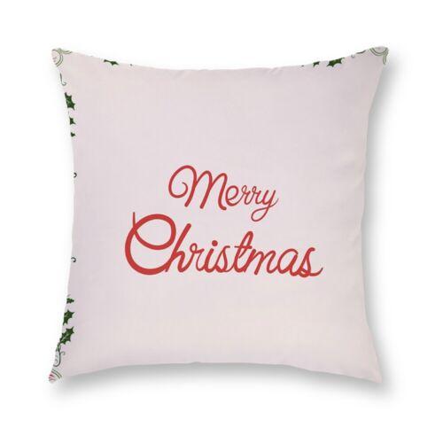 """18/"""" Christmas Xmas Printed Polyester Cushion Cover Pillow Case Home Sofa Decor"""