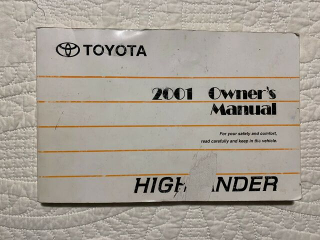 Toyota Highlander Owner Manuals 2001 Manual Guide