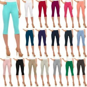 Womens-Classic-Fit-Capri-Pants-Pull-On-Style-Capris-with-Detailed-Design