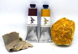 Mummy Brown, Indian Yellow - Oddity hue oil paint set - 37ml