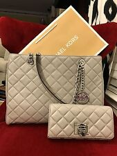NWT MICHAEL KORS LEATHER SUSANNAH LARGE TOTE BAG + ASTRID WALLET IN PEARL GREY