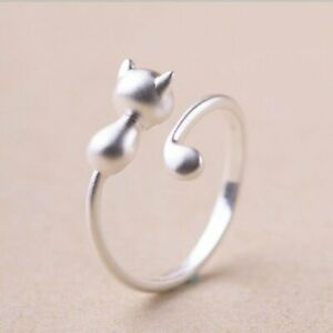 17c1cdce08 Image is loading Adjustable-Rings-Silver-Lovely-Cat-Ring-Women-Charm-