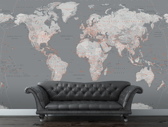 1wall silver grey world map feature wall wallpaper mural 158cm x 315x232cm giant wall mural photo wallpaper silver political map of the world gumiabroncs Images