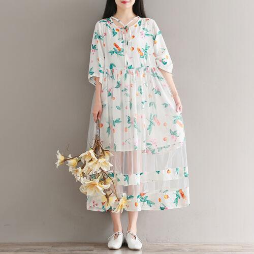 New Mori Girl Elegant Women/'s Floral Dress Sweet Loose Holiday Literature Dress
