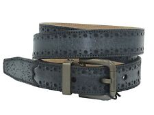 DOLCE & GABBANA Men's Charcoal Gray Leather Perforated Adjustable Belt Size 95
