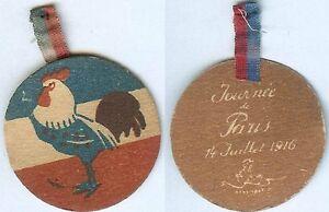 Insigne-de-journees-14-18-Journee-de-Paris-14-juillet-1916-rond-coq
