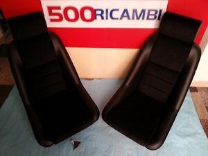 COPPIA SEDILI AUTO EPOCA FUSINA SPORTIVI NERI FIAT 500 F/L/R 126 MINI FULVIA NEW