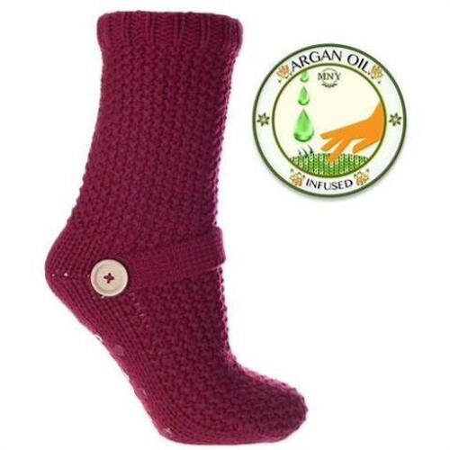 MinxNY The Bridge Collection Knit Sweater Spa Slipper Socks Infused w// Argan Oil