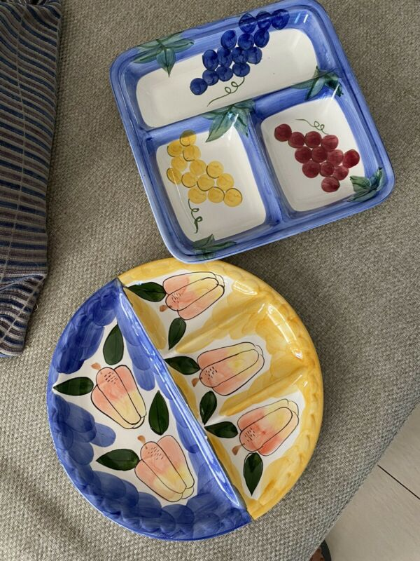 Hand painted serving dishes for both of them