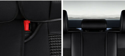 Black PU Leather /& Fabric Full Set Seat Covers Padded For Kia Hyundai