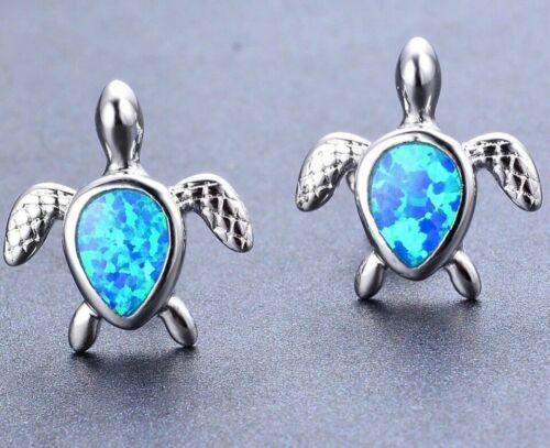 Beautiful 925 Sterling Silver Blue Fire Opal Turtle Shaped Stud Earrings