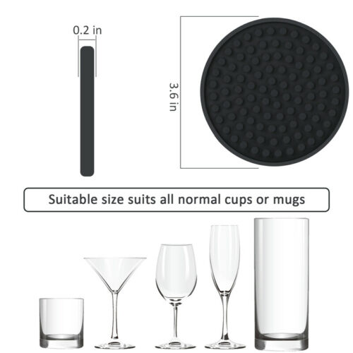 Non-slip Round Soft Coaster Rubber Cup 4.3in Silicone Drink Coasters Set of 6